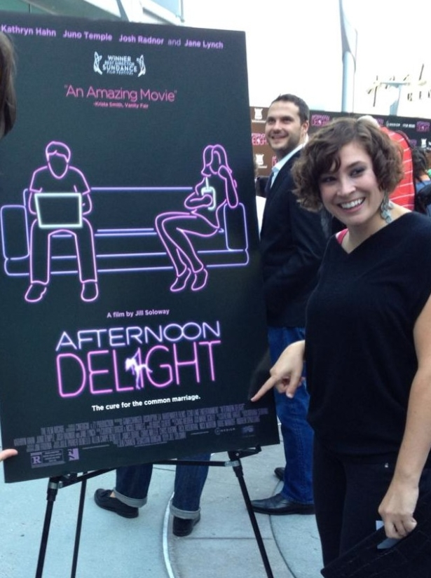 Cate at the Afternoon Delight Premiere. Her name is on the poster!