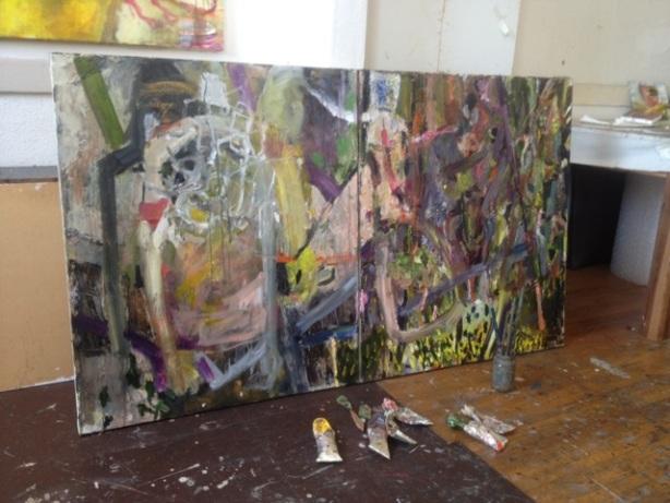 working in her studio