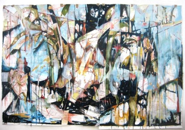 What Happened to my Canoe?, oil on gessoed paper, 7 feet x 11.5 feet, 2010