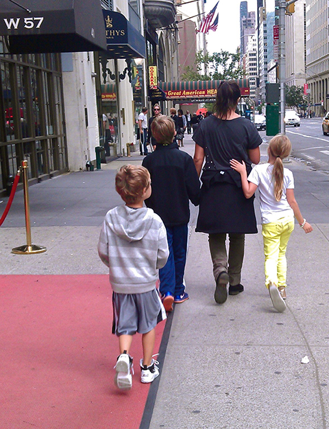 Stephanie Laing and her three kids in NYC.